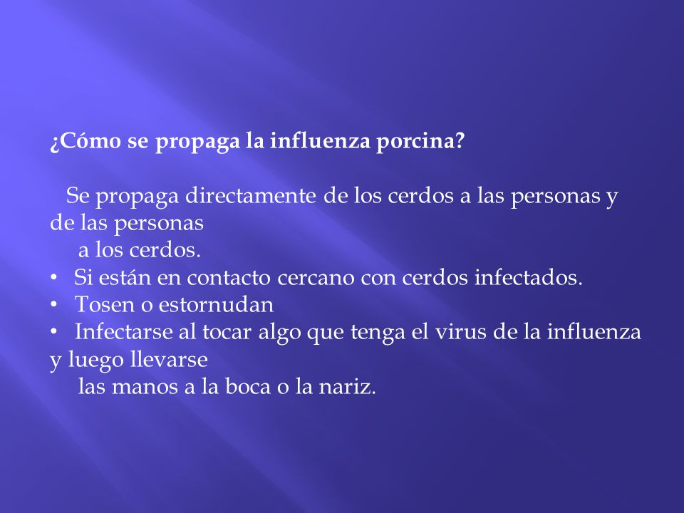 ¿Cómo se propaga la influenza porcina