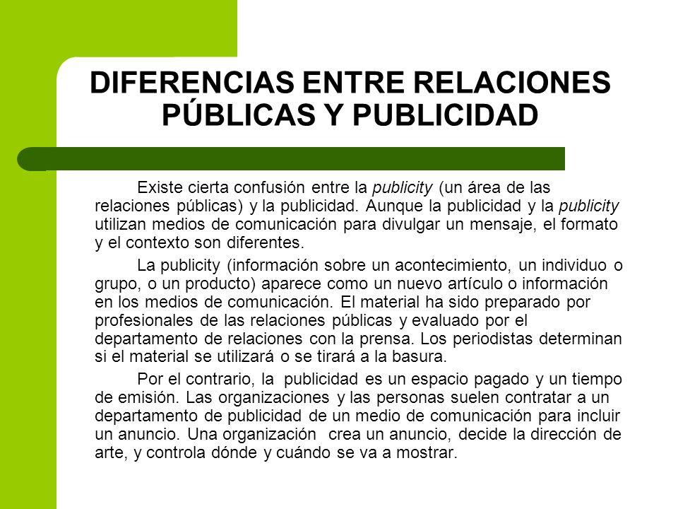 DIFERENCIAS ENTRE RELACIONES PÚBLICAS Y PUBLICIDAD