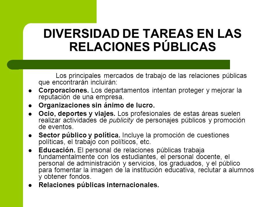 DIVERSIDAD DE TAREAS EN LAS RELACIONES PÚBLICAS