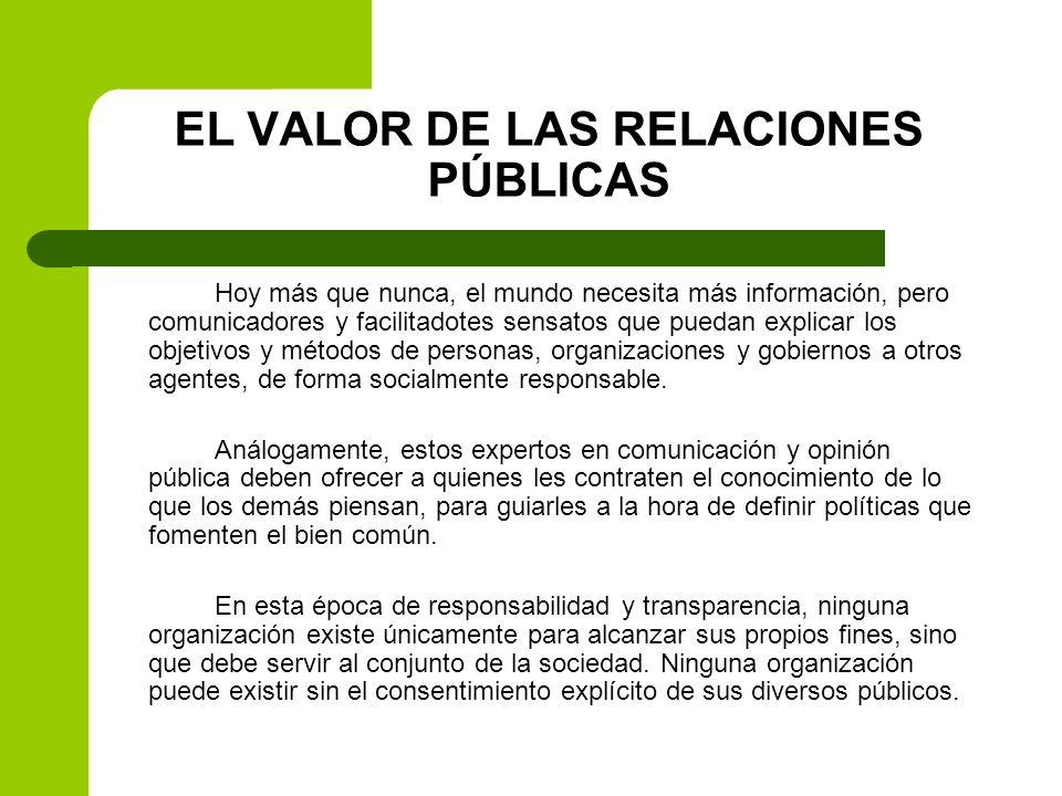 EL VALOR DE LAS RELACIONES PÚBLICAS