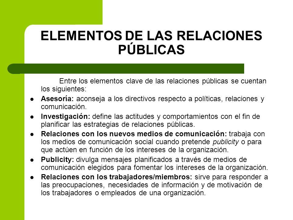 ELEMENTOS DE LAS RELACIONES PÚBLICAS
