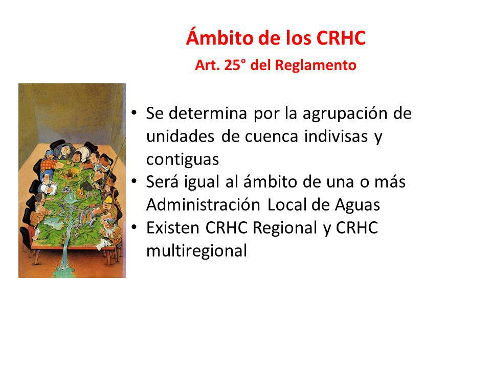 Ámbito de los CRHC Art. 25° del Reglamento. Se determina por la agrupación de unidades de cuenca indivisas y contiguas.