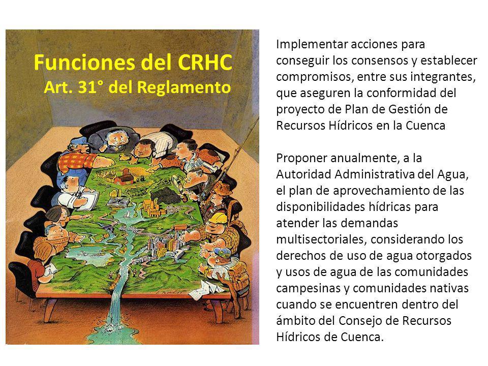 Funciones del CRHC Art. 31° del Reglamento