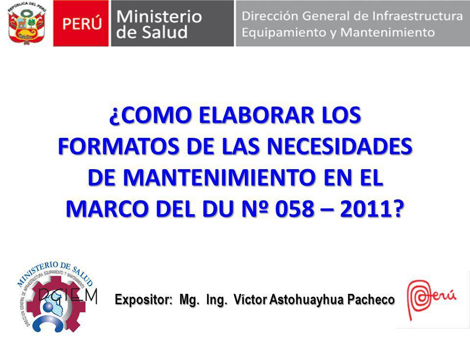 Expositor: Mg. Ing. Víctor Astohuayhua Pacheco