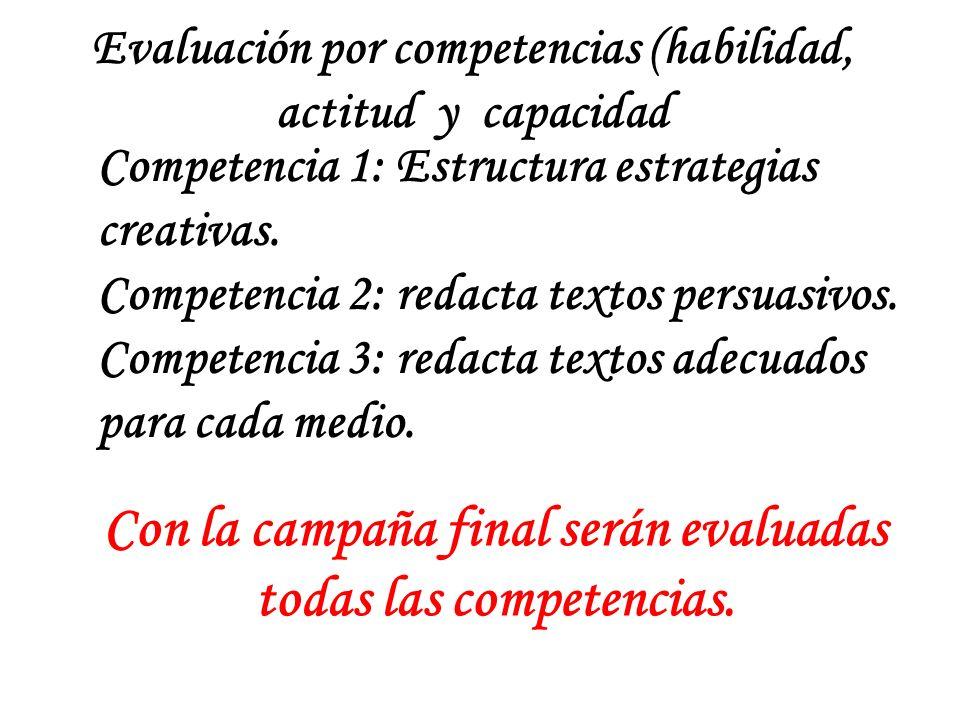 Con la campaña final serán evaluadas todas las competencias.
