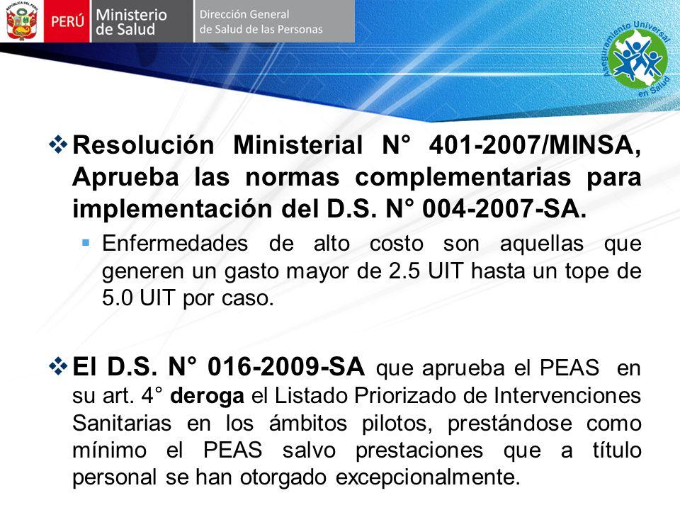 Resolución Ministerial N° 401-2007/MINSA, Aprueba las normas complementarias para implementación del D.S. N° 004-2007-SA.