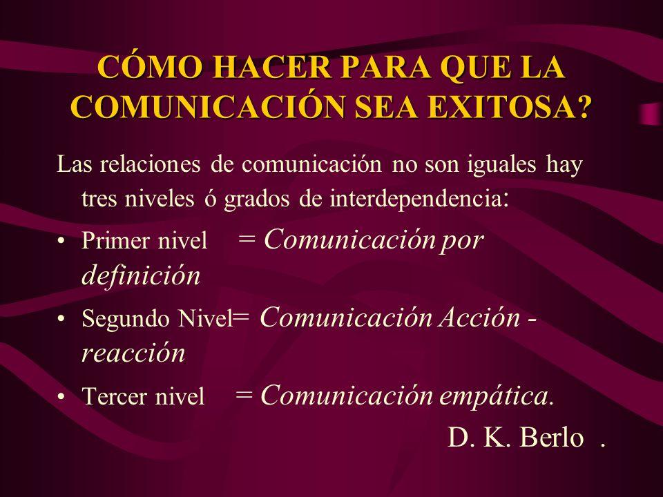 CÓMO HACER PARA QUE LA COMUNICACIÓN SEA EXITOSA