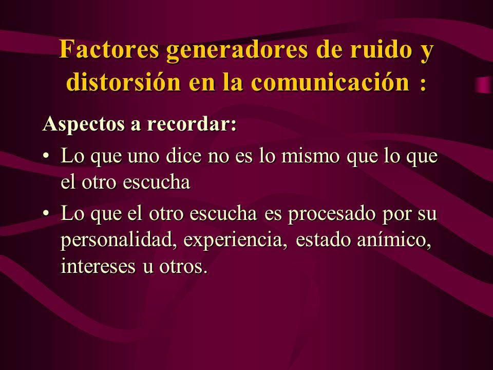 Factores generadores de ruido y distorsión en la comunicación :