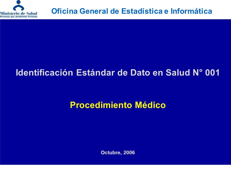 Identificación Estándar de Dato en Salud N° 001 Procedimiento Médico