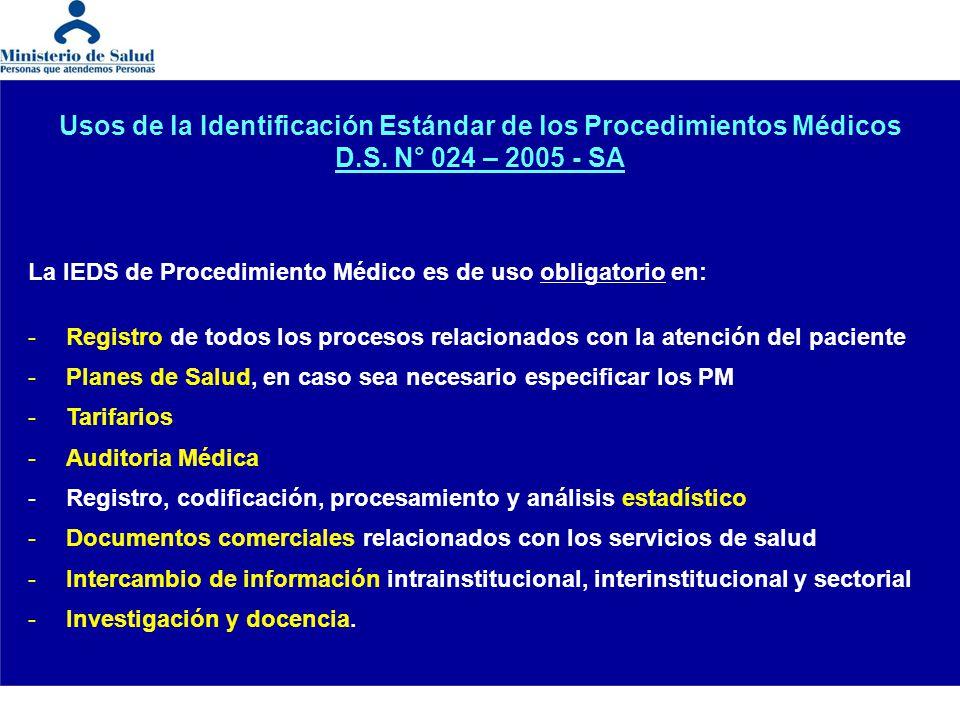 Usos de la Identificación Estándar de los Procedimientos Médicos