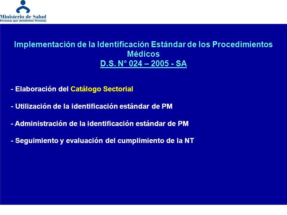 Implementación de la Identificación Estándar de los Procedimientos Médicos