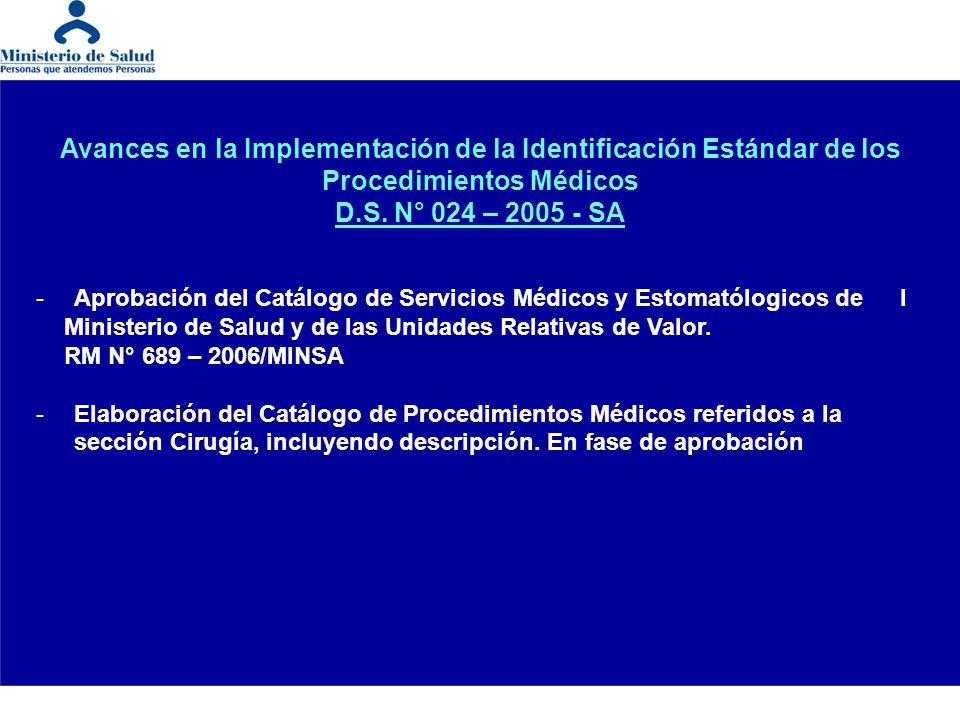 Avances en la Implementación de la Identificación Estándar de los Procedimientos Médicos