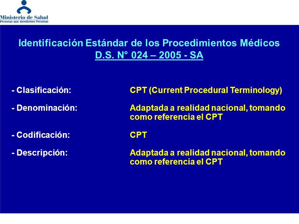 Identificación Estándar de los Procedimientos Médicos