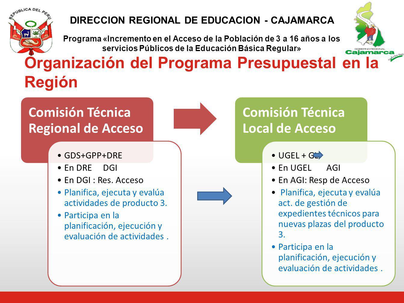 Organización del Programa Presupuestal en la Región