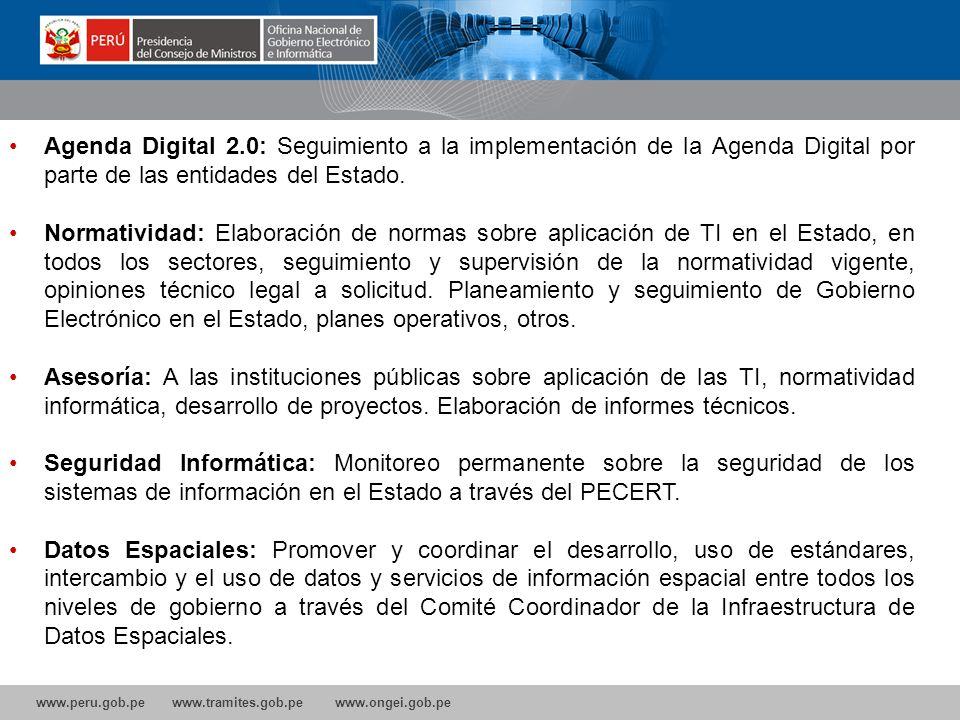 Agenda Digital 2.0: Seguimiento a la implementación de la Agenda Digital por parte de las entidades del Estado.
