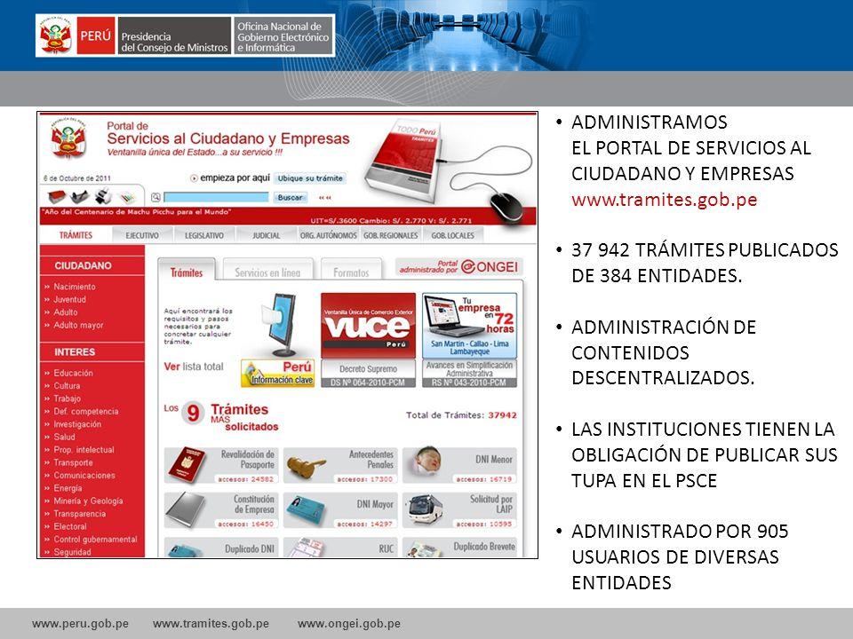 EL PORTAL DE SERVICIOS AL CIUDADANO Y EMPRESAS www.tramites.gob.pe