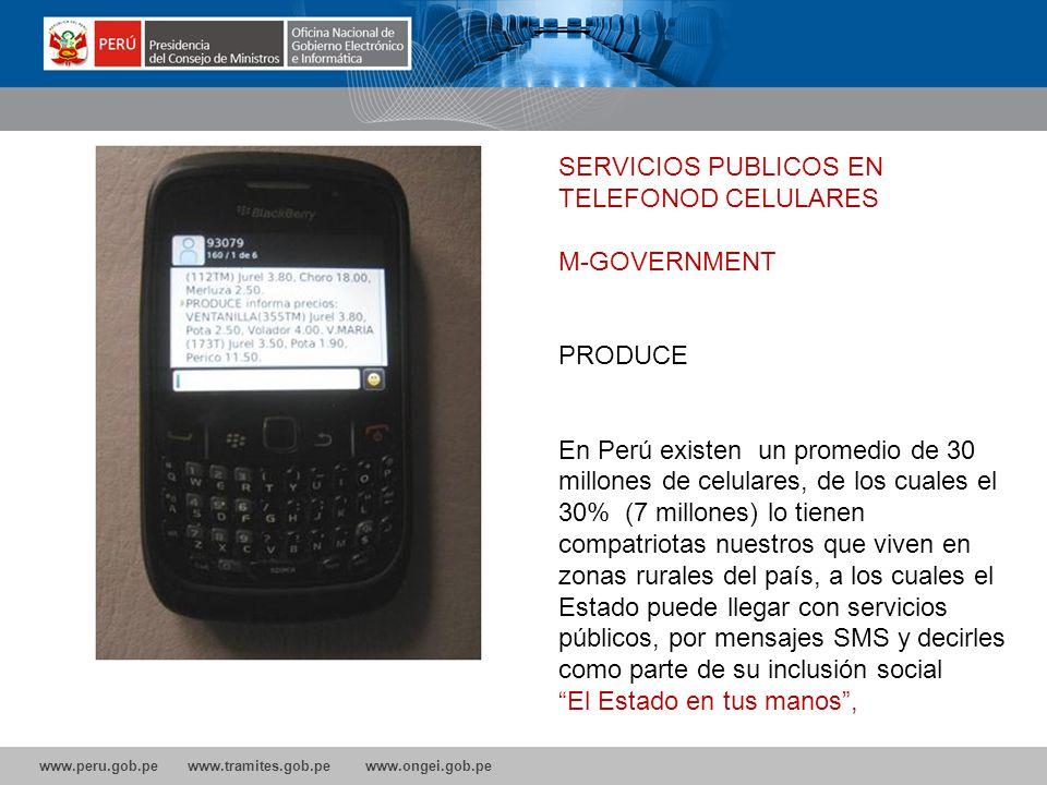SERVICIOS PUBLICOS EN TELEFONOD CELULARES