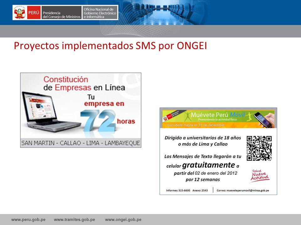 Proyectos implementados SMS por ONGEI