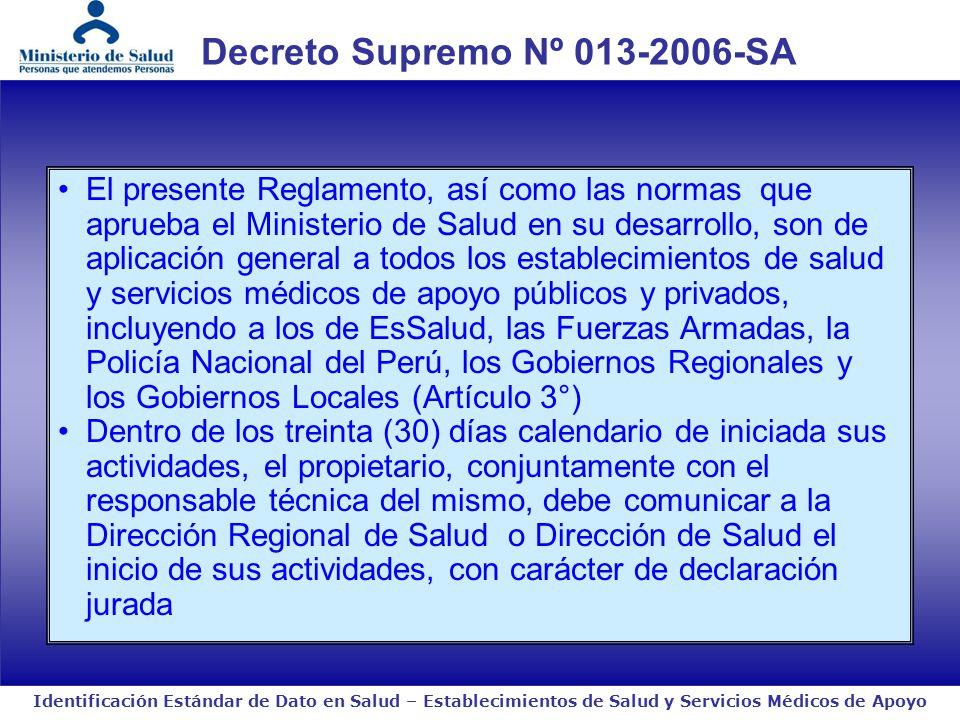 Decreto Supremo Nº 013-2006-SA