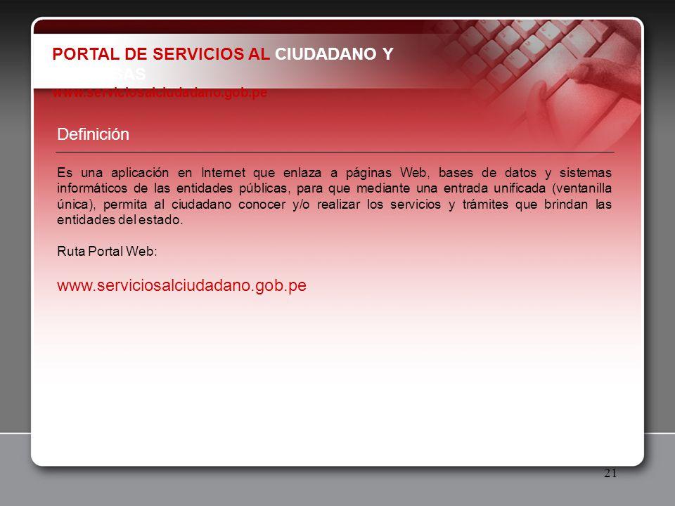 PORTAL DE SERVICIOS AL CIUDADANO Y EMPRESAS