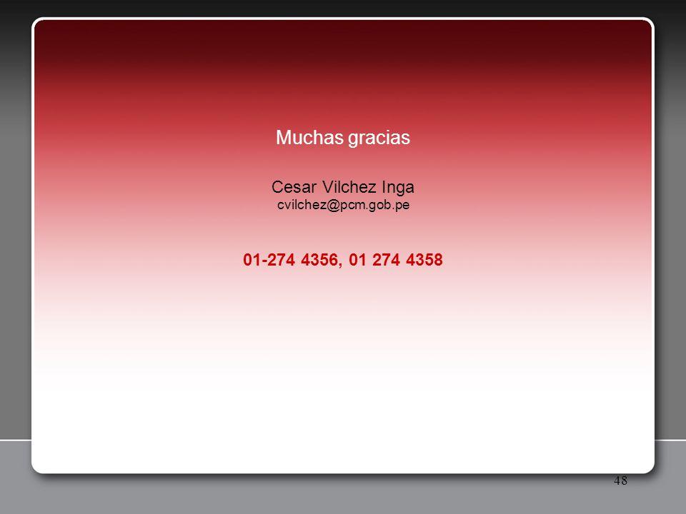 Muchas gracias Cesar Vilchez Inga 01-274 4356, 01 274 4358