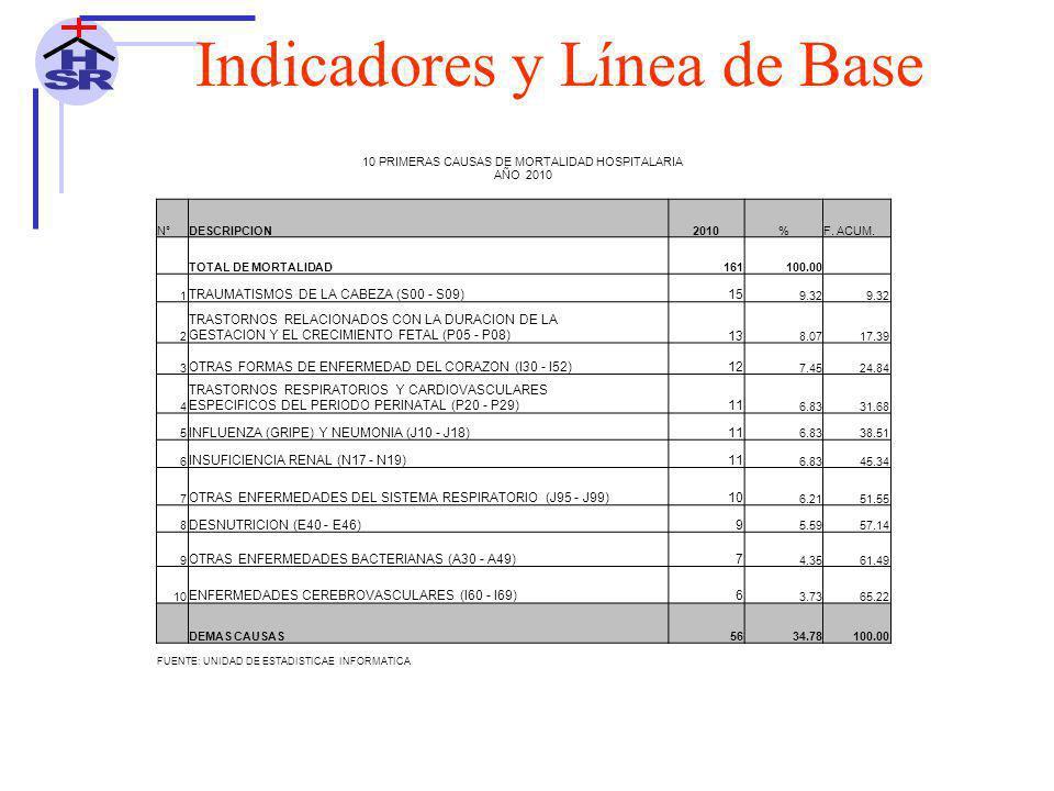10 PRIMERAS CAUSAS DE MORTALIDAD HOSPITALARIA AÑO 2010