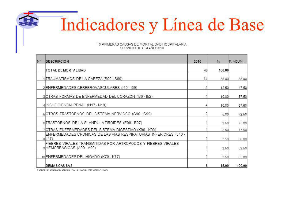 10 PRIMERAS CAUSAS DE MORTALIDAD HOSPITALARIA SERVICIO DE UCI AÑO 2010