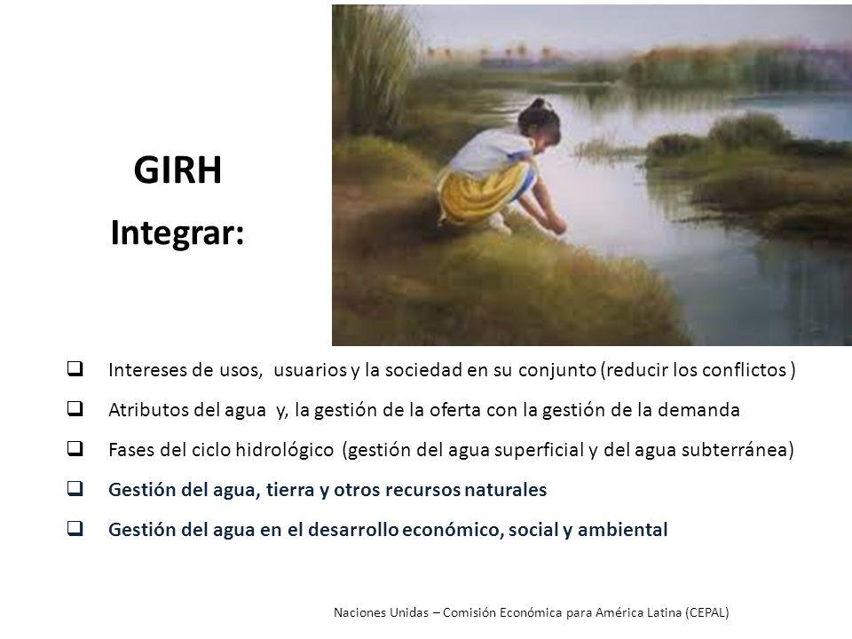 GIRH Integrar: Intereses de usos, usuarios y la sociedad en su conjunto (reducir los conflictos )