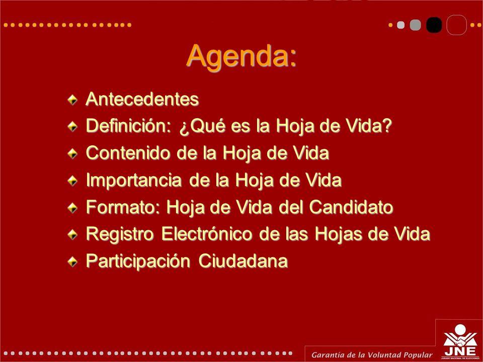 Agenda: Antecedentes Definición: ¿Qué es la Hoja de Vida