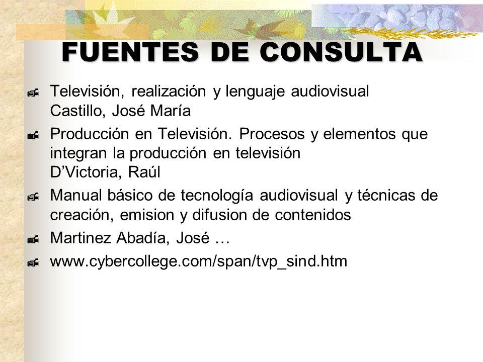 FUENTES DE CONSULTA Televisión, realización y lenguaje audiovisual Castillo, José María.