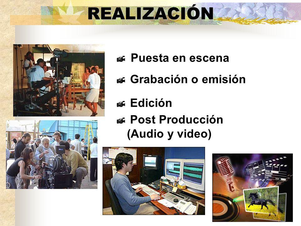 REALIZACIÓN Puesta en escena Grabación o emisión Edición