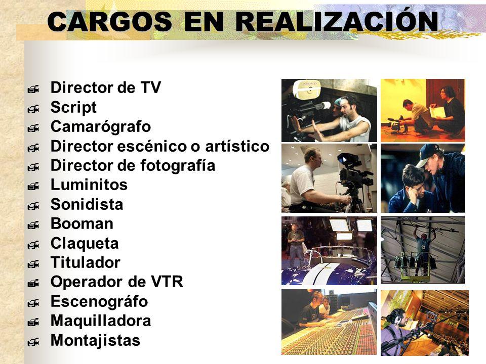 CARGOS EN REALIZACIÓN Director de TV Script Camarógrafo