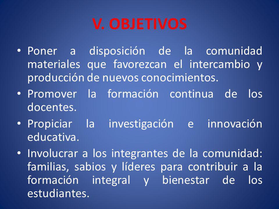 V. OBJETIVOS Poner a disposición de la comunidad materiales que favorezcan el intercambio y producción de nuevos conocimientos.