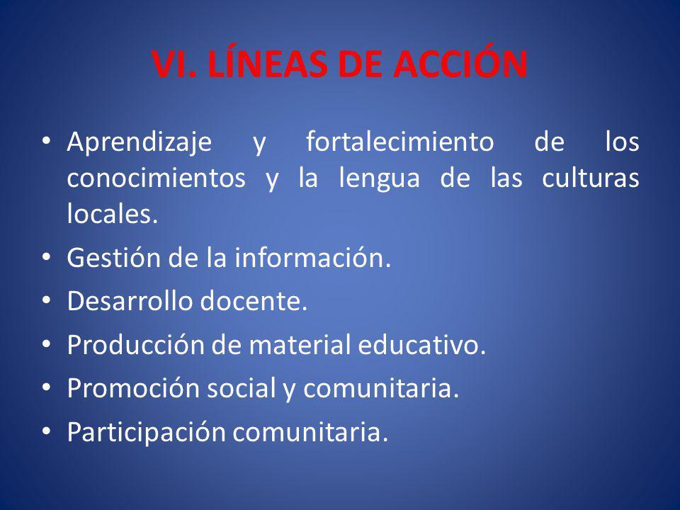 VI. LÍNEAS DE ACCIÓN Aprendizaje y fortalecimiento de los conocimientos y la lengua de las culturas locales.