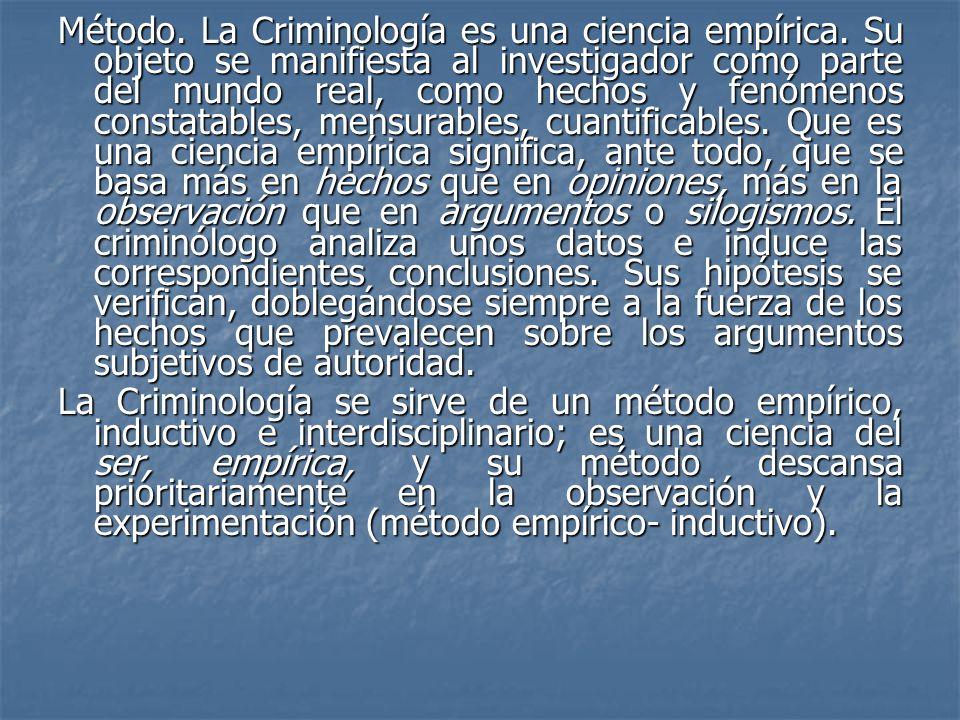 Método. La Criminología es una ciencia empírica