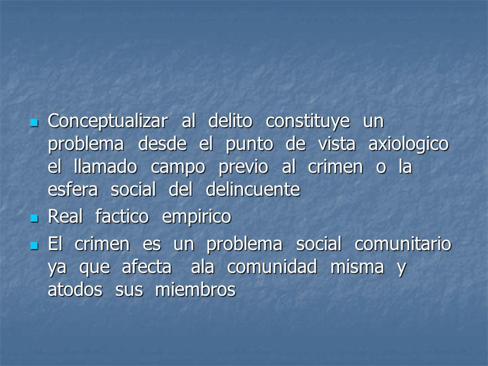 Conceptualizar al delito constituye un problema desde el punto de vista axiologico el llamado campo previo al crimen o la esfera social del delincuente