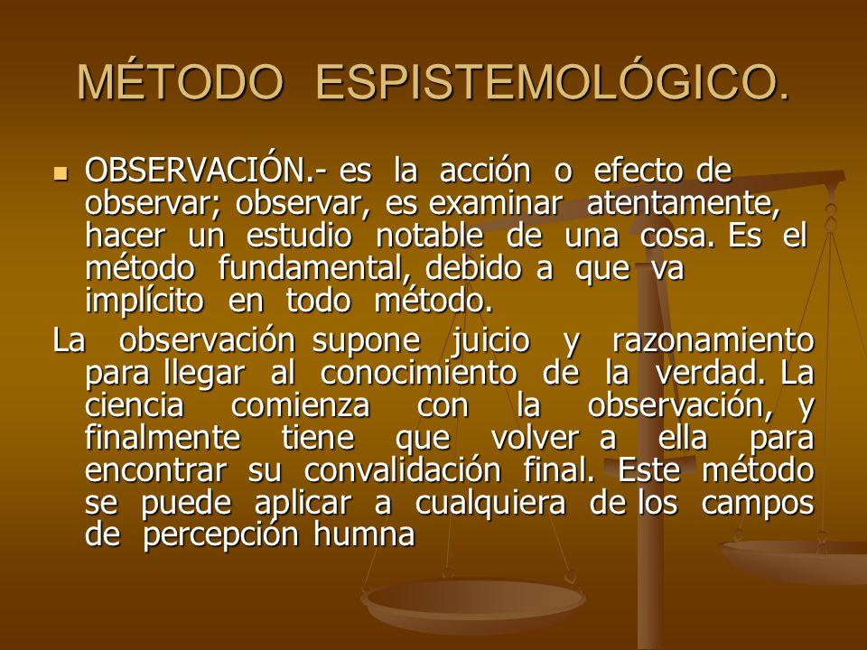 MÉTODO ESPISTEMOLÓGICO.