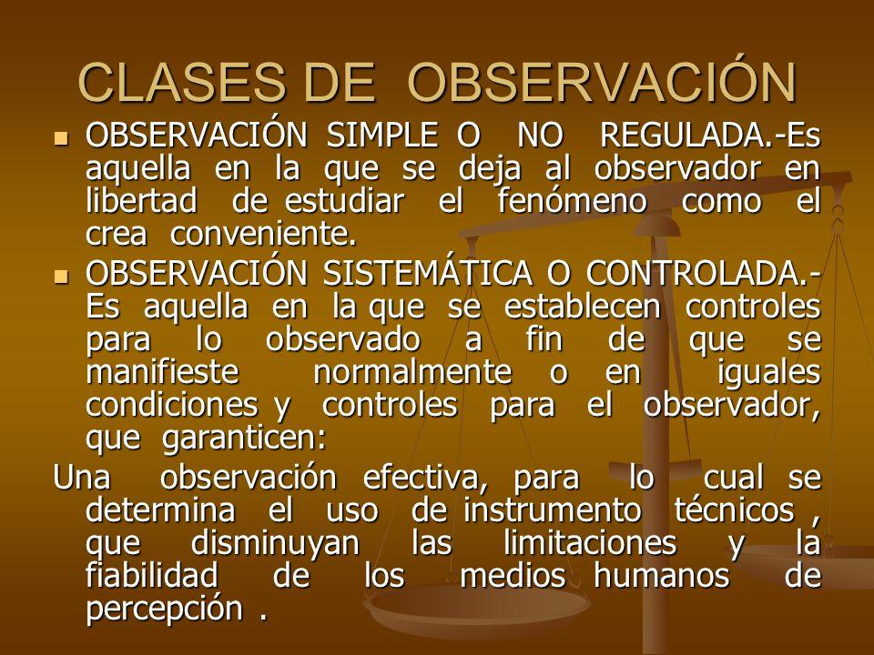 CLASES DE OBSERVACIÓN