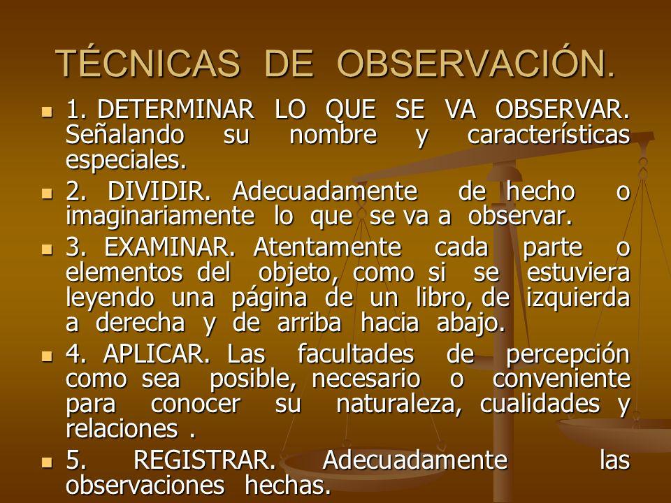 TÉCNICAS DE OBSERVACIÓN.