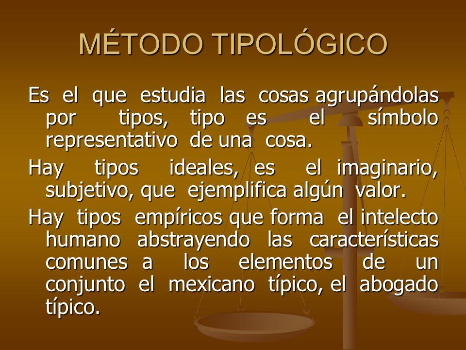 MÉTODO TIPOLÓGICO Es el que estudia las cosas agrupándolas por tipos, tipo es el símbolo representativo de una cosa.