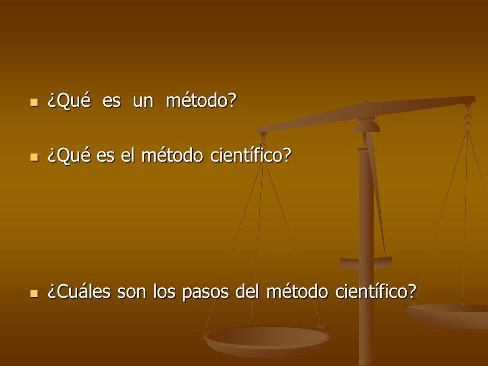 ¿Qué es un método ¿Qué es el método científico ¿Cuáles son los pasos del método científico
