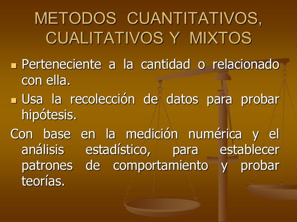 METODOS CUANTITATIVOS, CUALITATIVOS Y MIXTOS
