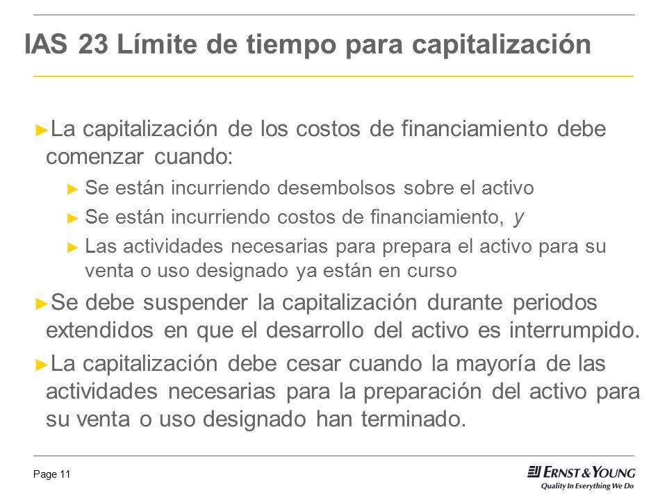 IAS 23 Límite de tiempo para capitalización