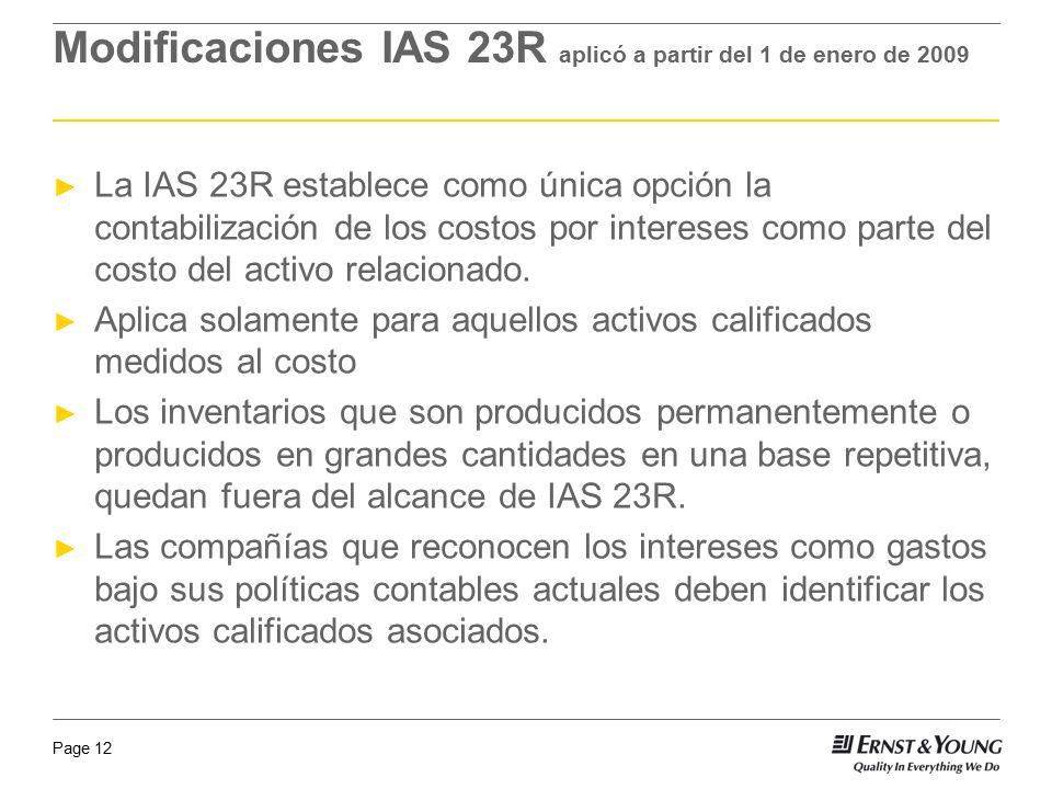 Modificaciones IAS 23R aplicó a partir del 1 de enero de 2009