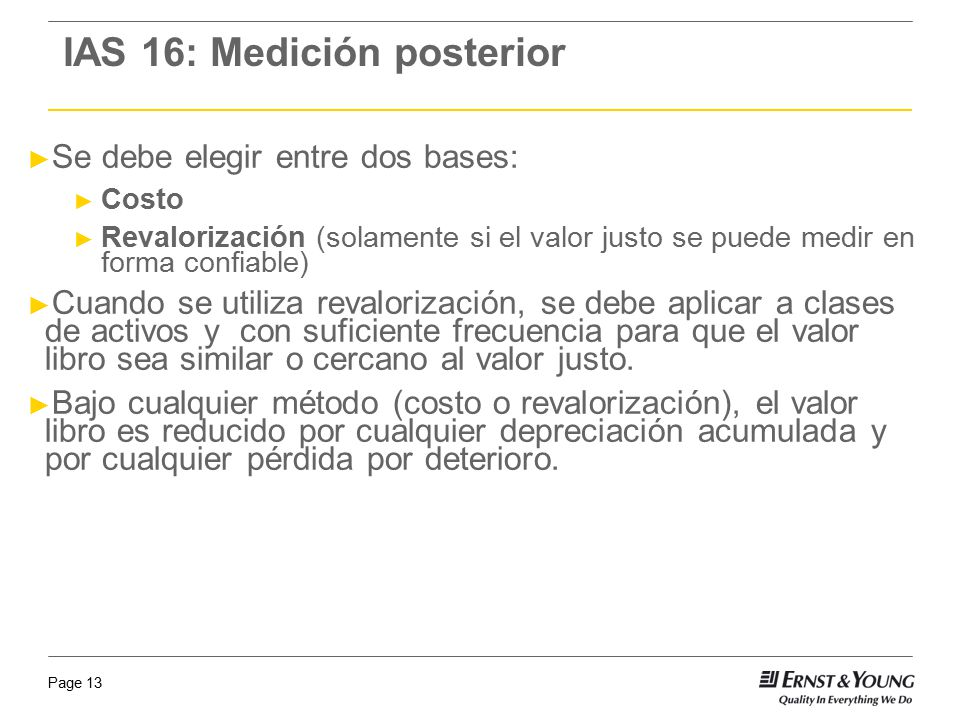 IAS 16: Medición posterior