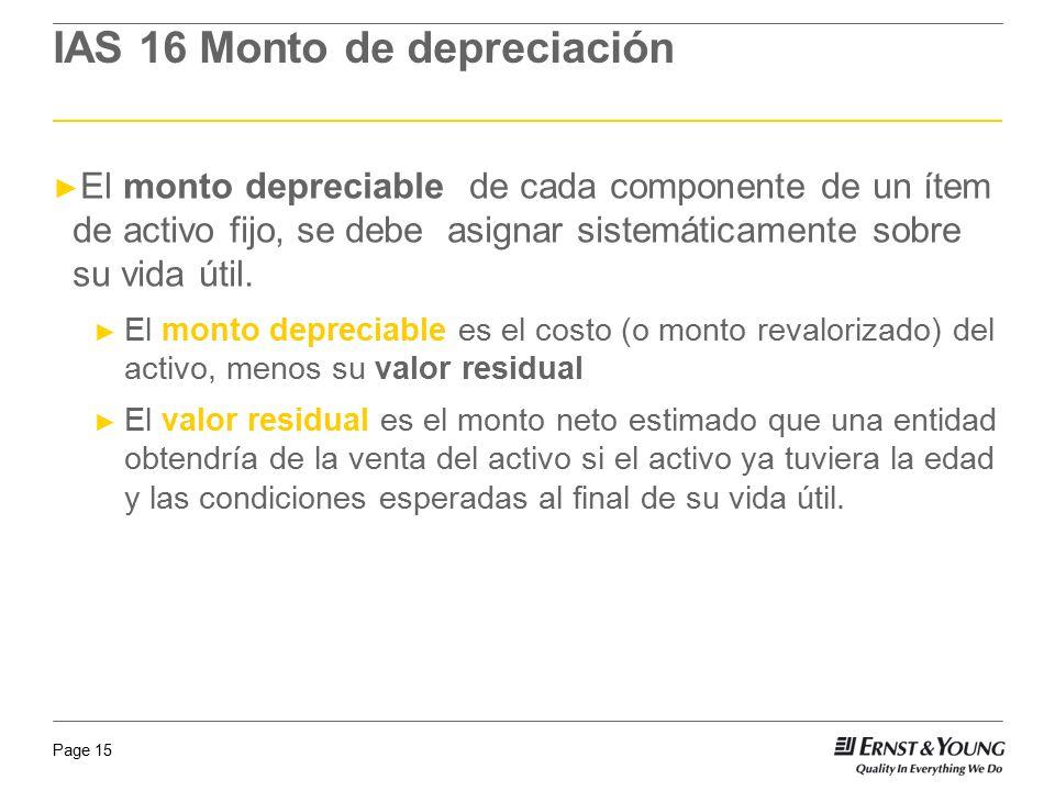 IAS 16 Monto de depreciación