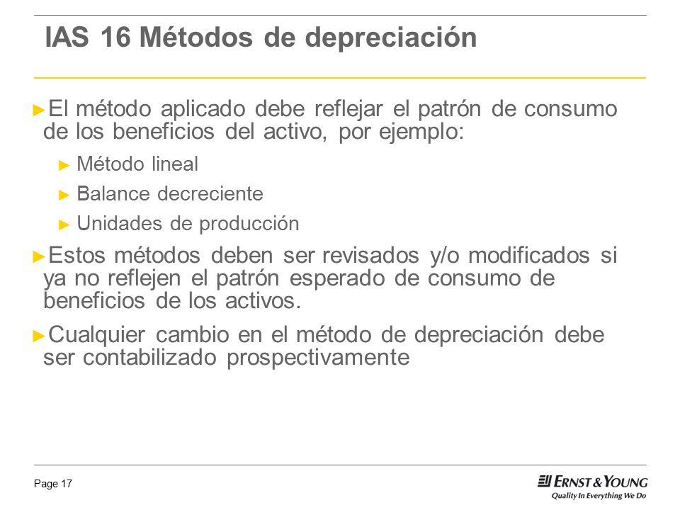 IAS 16 Métodos de depreciación