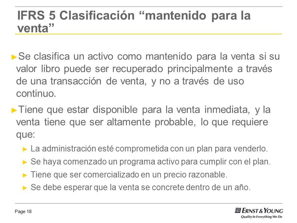 IFRS 5 Clasificación mantenido para la venta
