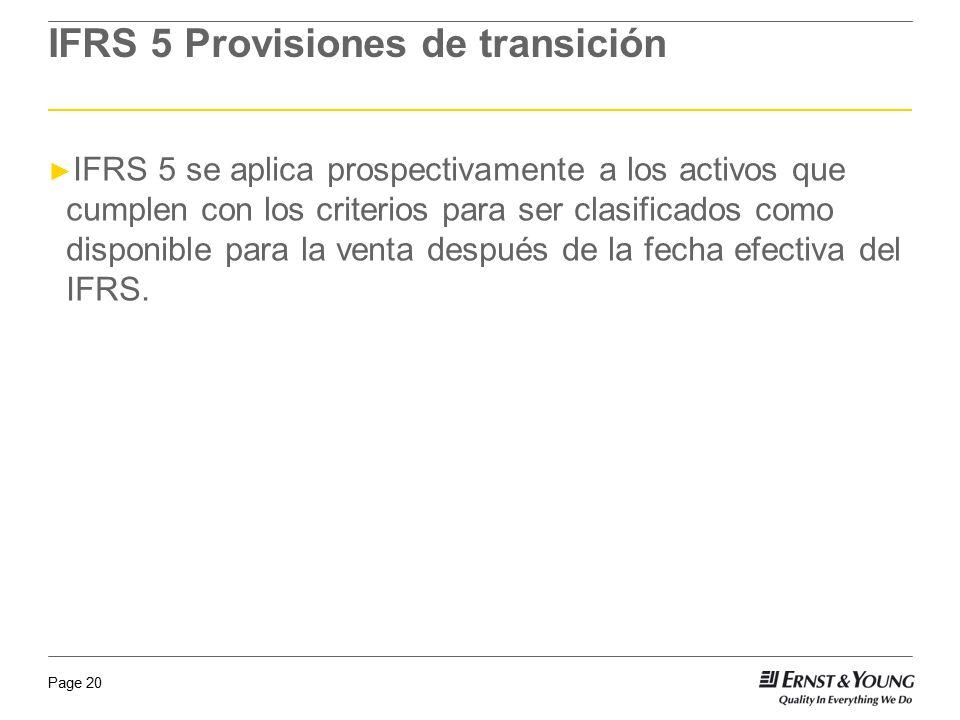 IFRS 5 Provisiones de transición