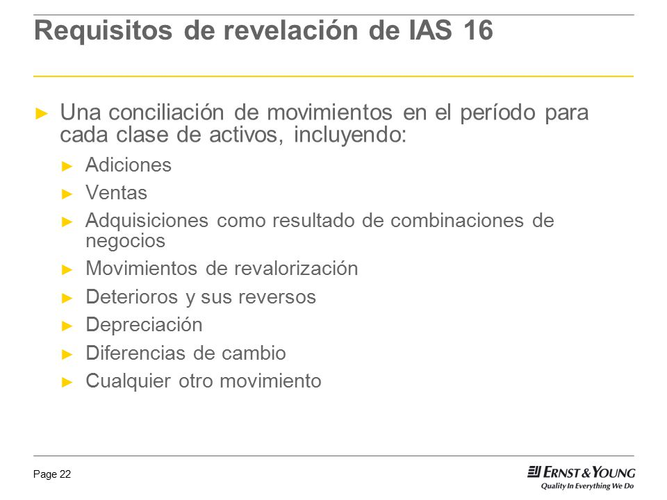 Requisitos de revelación de IAS 16
